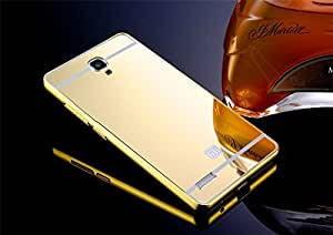SDO™ Metal Bumper Frame Case with Acrylic Mirror Back Cover Case for Xiaomi Redmi Note 4G/Redmi Note Prime - Gold + Micro USB OTG Cable + Micro USB Charging Cable Combo Set
