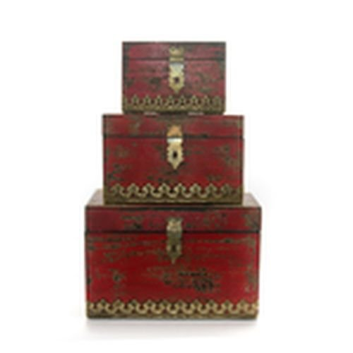 Set of Three Aged Nesting Distressed Boxes in Red