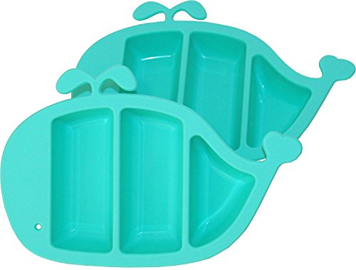 Hominize Baby Divided Plates (2 packs) ♥ Non Skid Non Slip 100% Silicone Food Tray/Dish for Graduates Toddler & Kid ♥ Dishwasher & Microwave Safe ♥ BPA Free (Rubber Veggie Steamer compare prices)