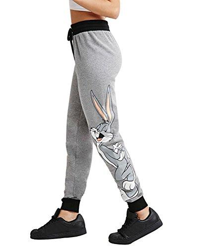 FV RELAY Women's Cartoon Bunny Cat Print Casual Joggers Pants (M,Bunny) (Fashion Bug Plus Size)