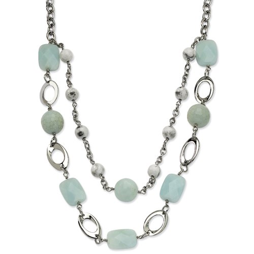 Stainless Steel Green Agate & Howlite 28in W/ 2in Ext Necklace