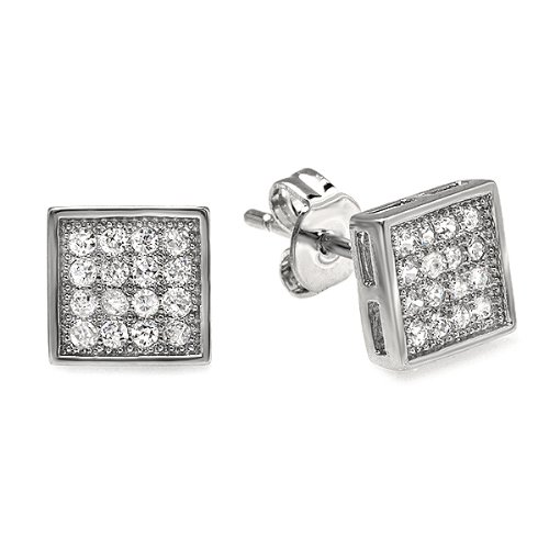 Platinum Plated Stud Earrings Cube Shaped White Round Cubic Zirconia Iced Pushback Post (7 MM x 7 MM)