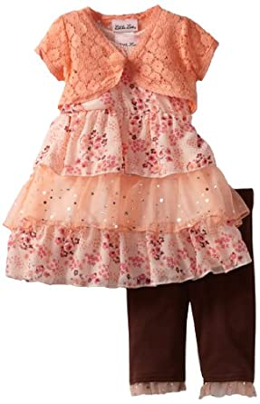 Little Lass Baby-Girls Infant 3 Piece Skimp with Layers, Coral, 24 Months