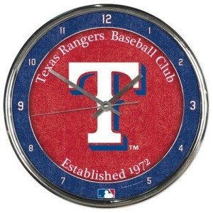Texas Rangers Round Chrome Wall Clock by Hall of Fame Memorabilia
