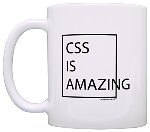 Programmer Gifts CSS is Amazing Office Gifts Coworker 2 Pack Gift Coffee Mugs Tea Cups White