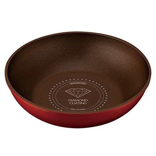 アイリスオーヤマ 炒め鍋  「ダイヤモンドコートパン」 取っ手の取れる IH対応 オレンジ 28cm H-IS-W28
