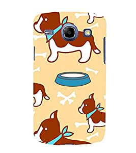 animated dog and bone in peach background pattern 3D Hard Polycarbonate Designer Back Case Cover for Samsung Galaxy Core i8262 :: Samsung Galaxy Core i8260