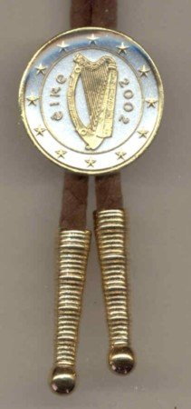 Gorgeous 2-Toned Gold on Silver Harp, stars, center World Coin Bolo-Tie BT-173