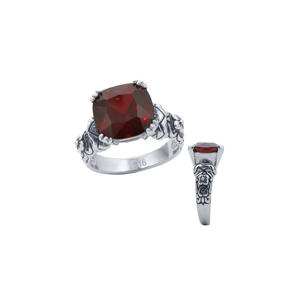 16.20 cw CZ, 316 Stainless Steel Dark Red CZ Ring (6)