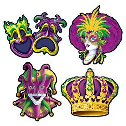 Mardi Gras Cutouts Party Accessory (1 count) (4/Pkg)