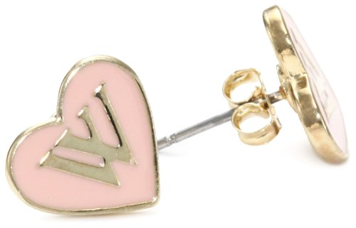 WILDFOX 10k Gold Plated with Pink Enamel Stud Earrings