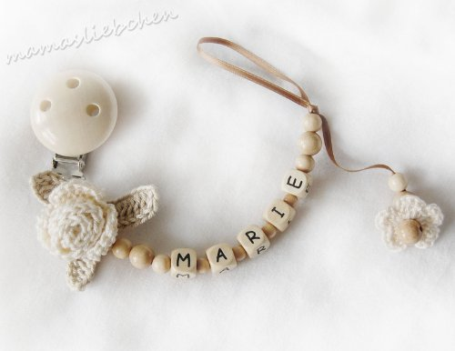 Personalized pacifier clip with wooden letter beads model 1138, handmade by mamasliebchen