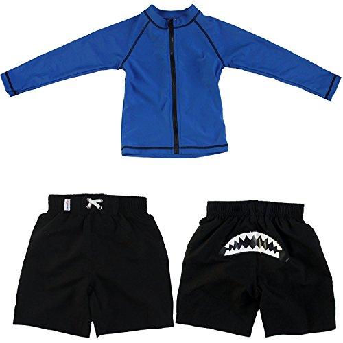 Shark Bite - UV Sun Protective Rash Guard Swimsuit Set by SwimZip Swimwear 4T,Blue