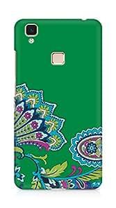 Amez designer printed 3d premium high quality back case cover for Vivo V3 Max (green floral indian print )