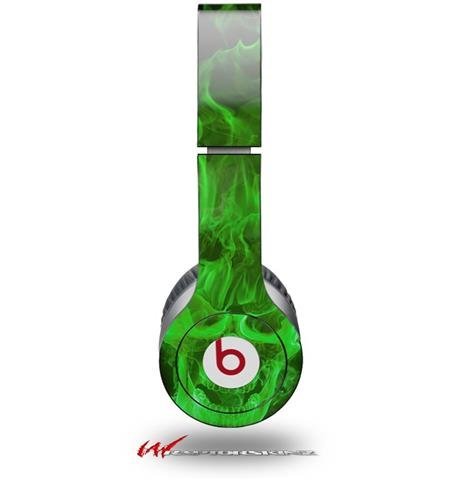 Flaming Fire Skull Green Decal Style Skin (Fits Genuine Beats Solo Hd Headphones - Headphones Not Included)