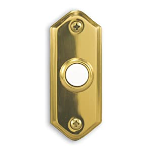 Heath Zenith 856-B Wired Push Button, Polished Brass Finish with Lighted Center Button