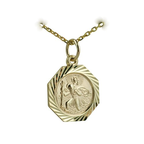 9ct Gold 15x15mm hexagonal diamond cut edge St Christopher with Cable link chain 16 inches only suitable for children