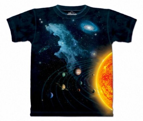 The Mountain Solar System Adult Black T-shirt M