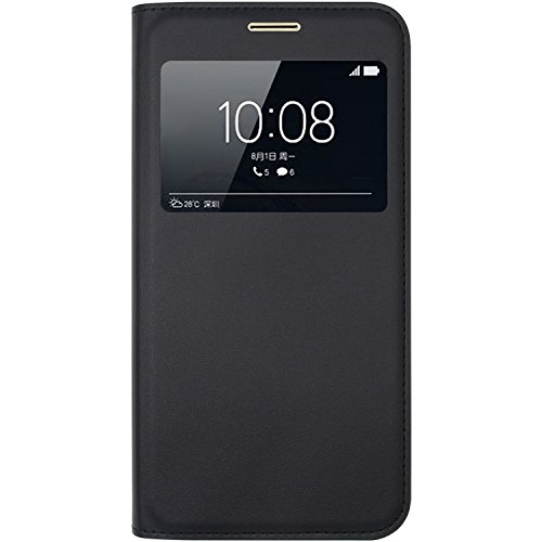 Ambaiyi Flip Custodia in Pelle Protettiva e View Finestra Cover per Huawei Nova Plus , Huawei Nova Plus Cover , Nero