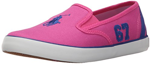 Polo Ralph Lauren Kids Venus Fashion Sneaker (Little Kid/Big Kid), Regatta Pink/Royal, 4 M US Big Kid