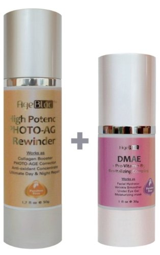 [Free Expedited Shipping] AgeBloc Organic High Potency-DMAE Face Set Includes High Potency Photo-Age Rewinder($92/50ml) and DMAE + Pro Vitamin B5 Revitalizing Complex($56/30ml) Got It All For Your Glowing Skin. High Concentration of Hyaluronic Acid and DMAE, Vitamin C Ester, Retinol, CoQ10 and Alpha Lipoic Acid And Natural Botanical Acids. Paraben Free. Best Anti-Aging Serum. Organic Skin Care Products For Women. Free Gift Wrap!