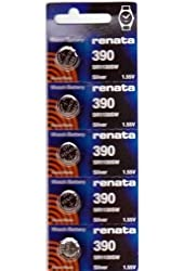Renata Watch Batteries 390 SR1130SW(5 Batteries)