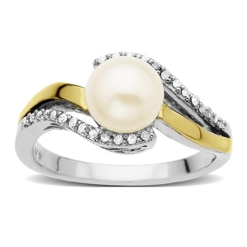 S&G Sterling Silver and 14k Yellow Gold 7mm Freshwater Cultured Pearl and Diamond Ring (0.07cttw, I-J Color, I3 Clarity), Size 7