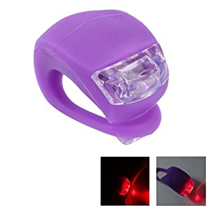 Waterproof Double Red Led Light With Purple Silicone For Bicycle