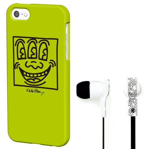 Grapht Keith Haring Collection Official Licensed Product Bezel Case For Iphone 5/5S With Earphones - Face - Retail Packaging - Yellow