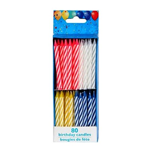 Birthday Candles, 80 Count, Spiral Brights - 1