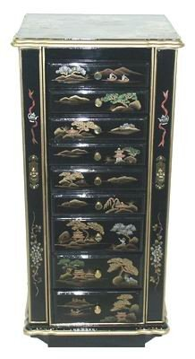 Oriental Furniture 38-Inch Black Lacquer Oriental Jewelry Armoire with Mountain Landscape Design, Jewelry Cabinet