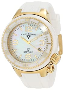 Swiss Legend Women's SL-11844-WWGA Neptune Goldtone White Mother-of-Pearl Dial Silicone Watch with Ceramic Case
