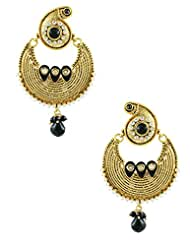 The Art Jewellery Rajwadi Black Chand Shape Dangle&Drop Earrings For Women