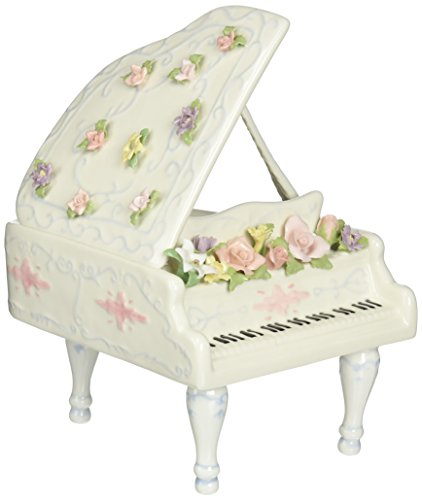 Cosmos SA49016 Fine Porcelain Grand Piano Musical Figurine, 7-3/4-Inch
