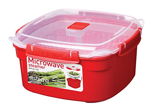 Sistema Microwave Cookware Medium Steamer, 81.1 Ounce/ 10.4 Cup, Red (Sistema Medium Microwave Plate compare prices)