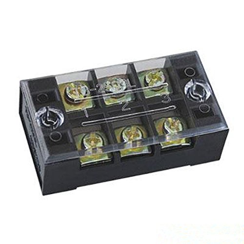 Omall (TM) 5 Pcs 600V 45A 3 Positions Dual Rows Covered Barrier Screw Terminal Block Strip TB-4503