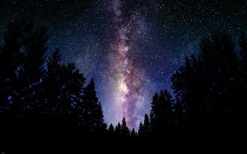 THE-MILKY-WAY-outer-space-poster-BEAUTIFUL-COLORS-LIGHT-STARS-trees-24X36