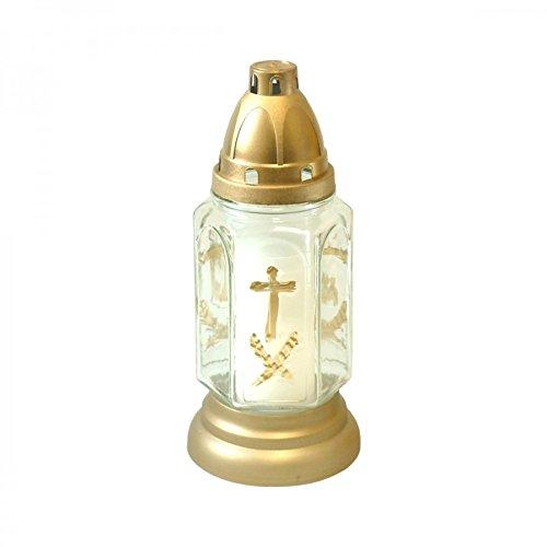Grabkerze 24 cm Glas weiß handbemalt