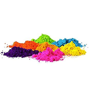 COLOR POWDER - 14 x 75g Packs of Different Colors Including 6 Neon UV Glow Powder - Made in the USA - Perfect for Color Run, Parties, Holi, Festivals