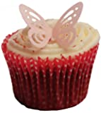 Toppercake Edible Wafer Butterfly Cup Cake Decorations Baby Pink