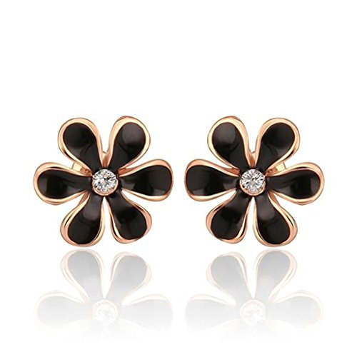 [Aomily Jewelry 18K Gold Plated Stud Earrings For Womens Flower Rose Gold] (Welcome To The Black Parade Costume)