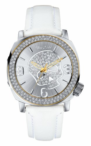 Marc Ecko E13524G2 Unisex Analogue olished silver tone case on white leather strap Sunray silver dial with rose gold tone highlighted bezel, iced