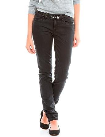Springfield - Second Skin Jeans mit schwarzem Gürtel und Schleife - Damen, 36, schwarz