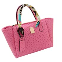 Classic Fashion Handbag Ostrich Leather Office bag w Shoulder Strap (Pink)
