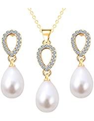 Glitz Bridal Fashion Gold Plated Crystal Zircon Oval Stud Faux Pearl Dangle Jewelry Set For Women