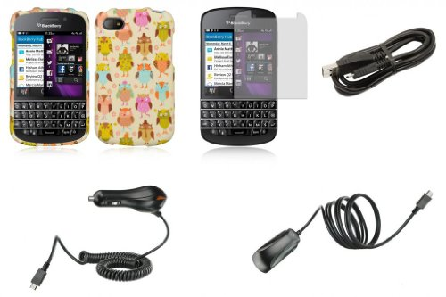 Blackberry Q10 - Accessory Combo Kit - Fancy Owls Design Shield Case + Atom Led Keychain Light + Screen Protector + Wall Charger + Car Charger + Micro Usb Cable