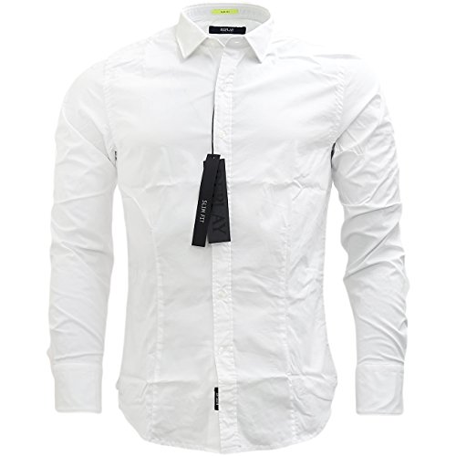 Replay -  Camicia Casual  - Basic - Classico  - Maniche lunghe  - Uomo White Medium