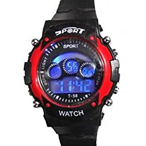 LAXMI AND SUNS Sport Black And Red Digital Watch