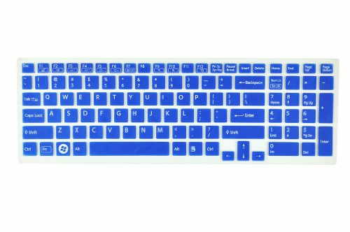 Silicone Laptop Keyboard Guardian angel Skin Cover for Sony Vaio Pcg-61511T, E15, S15, F219, F24, EB, EE, EH, EL, CB, SE, Series 15.5 inch With Figure up Pad on the right US Layout (Blue Semitransparent)