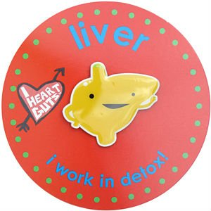 Liver Lapel Pin I Work In Detox I Heart Guts
